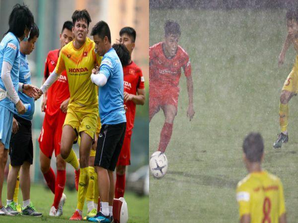 Bóng đá Việt Nam tối 25/8: Cầu thủ HAGL đau đớn rời sân khi đá tập