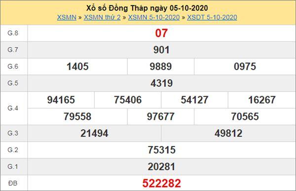 Soi cầu XSDT 12/10/2020 chốt lô số đẹp Đồng Tháp thứ 2