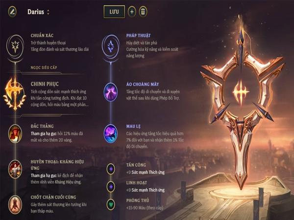 Thông tin Bảng Ngọc Darius